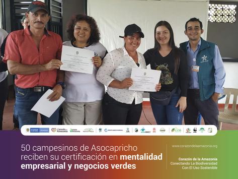50 campesinos de Asocapricho reciben su certificación en mentalidad empresarial y negocios verdes