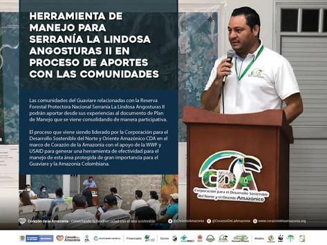 Herramienta de manejo para Serranía La Lindosa Angosturas II en proceso de aportes con comunidades