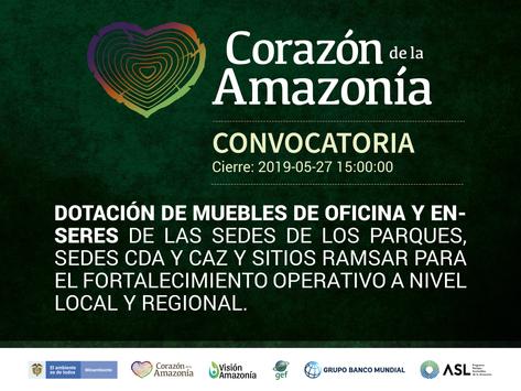 Dotación muebles de oficina y enseres de las sedes de los parques, sedes CDA y CAZ y sitios Ramsar