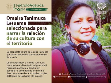 Omaira Tanimuca Letuama seleccionada para narrar la relación de su cultura con el territorio