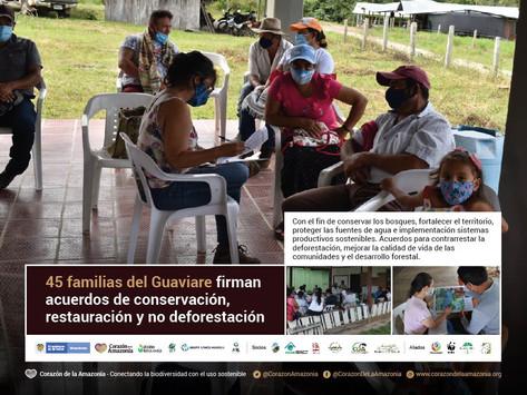 45 familias del Guaviare firman acuerdos de conservación, restauración y no deforestación