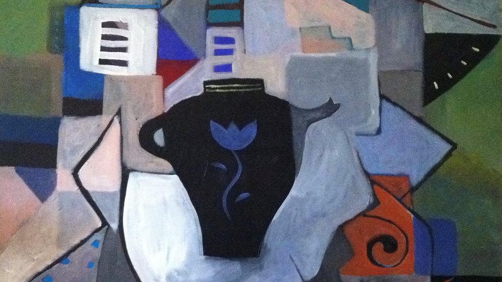 Blue Flower on Black Vase