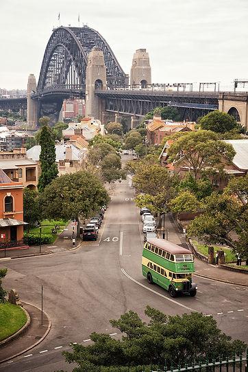 AEC Double Decker by the Sydney Harbour Bridge