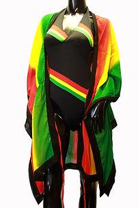 Black Rasta Full Swimsuit Cover Up
