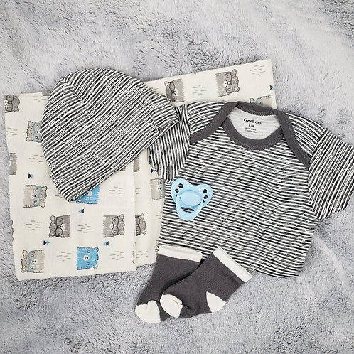 Stripes and Bear Onesie Set w/Magnetic Pacifier