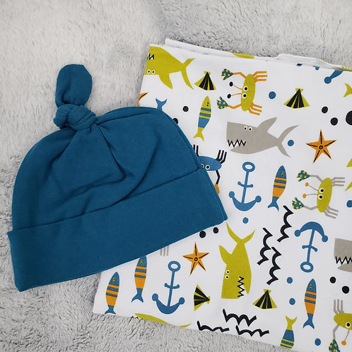 Whale and Anchor Swaddle Set
