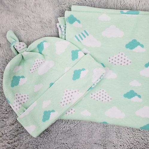 Mint Green w/ clouds Swaddle Set