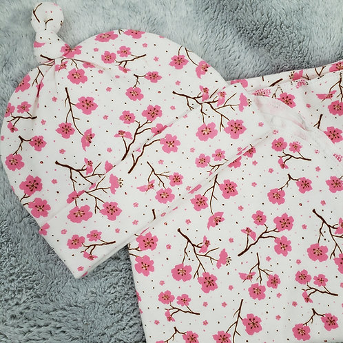 Pink Blossoms Swaddle and Cap