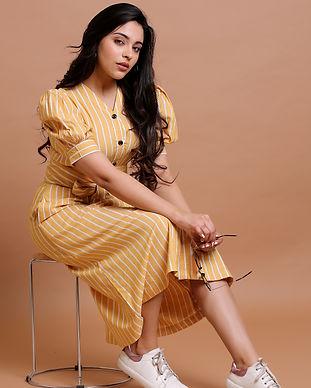 yellow striped midi dress