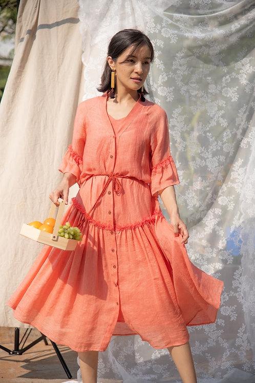 Jute Linen Tiered Dress