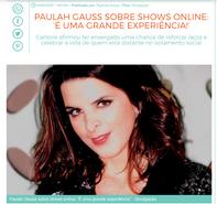 """Paulah Gauss sobre shows online: """"É uma grande experiência!"""""""