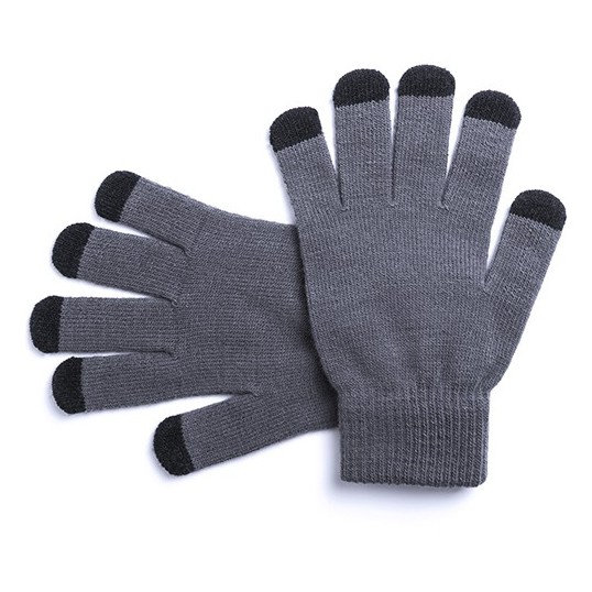 guante tactil gris