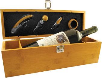 caja frontal set de vino bamboo