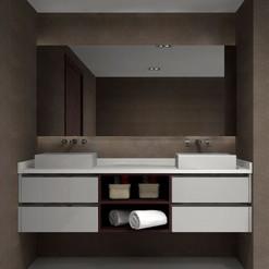 Mueble de baño con nicho abierto en el módulo central
