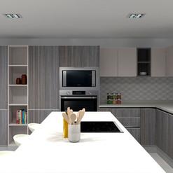 Cocina con alacenas y nicho abierto de altura completa