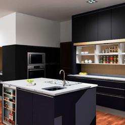 Cocina moderna con acabados negro mate