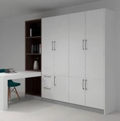 Mueble de escritorio con espacio amplio de almacenaje