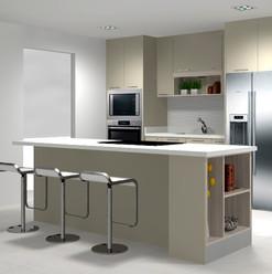 Cocina pequeña e isla con nichos abiertos