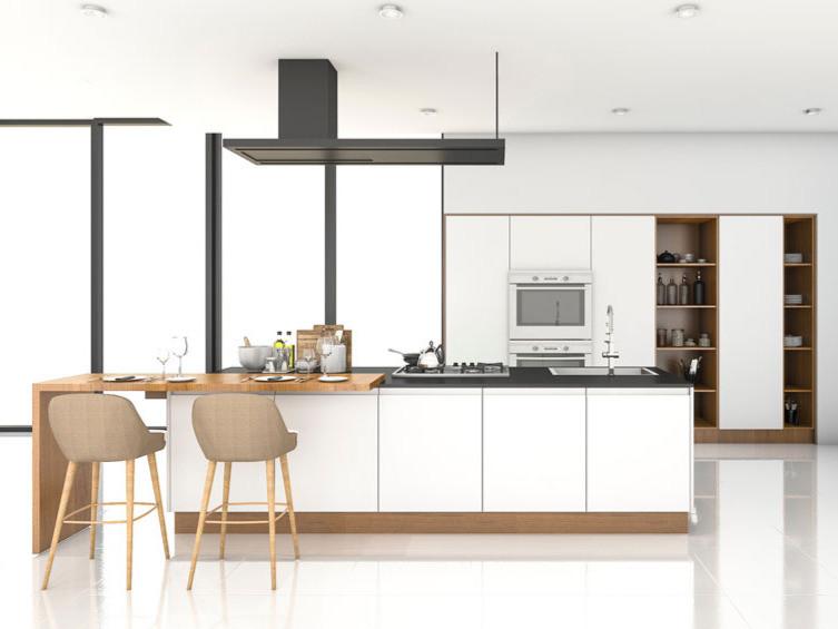cocina moderna, cocina blanca, cocina mate, cocina con detalles de madera