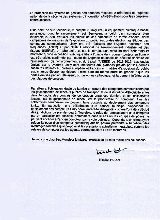 Reponse De N Hulot Au Maire De Loubaut Collectif 68 Stop Linky