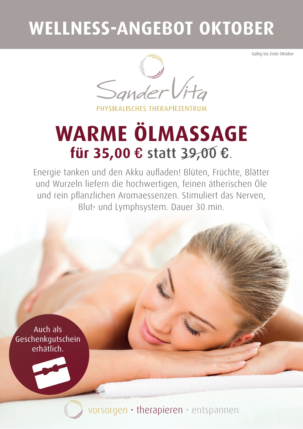 10 - Oktober Angebot Massage