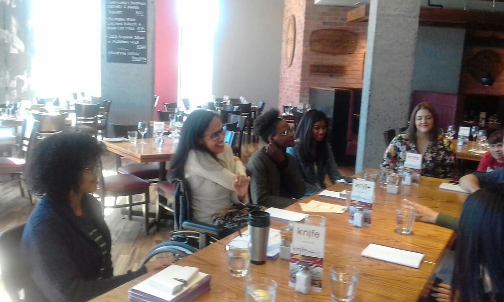Creative Angels Fashion Benefit team meeting at Knife Restaurant, Century City