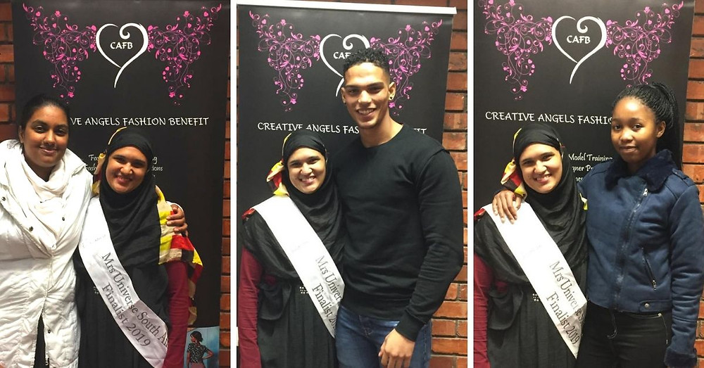Mr Universe SA 2019 Finalist, Feerouza Kruger, visits a Creative Angels Fashion Benefit workshop to motivate young aspiring models. Pictured left with CAFB Founder, Prenessa Nalliah, centre with model trainee Nathan and on the right with model trainee Portia.