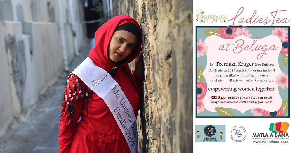 Mrs Universe South Africa 2019 Finalist, Feerouza Kruger, invites you to empower victims of abuse in Cape Town.