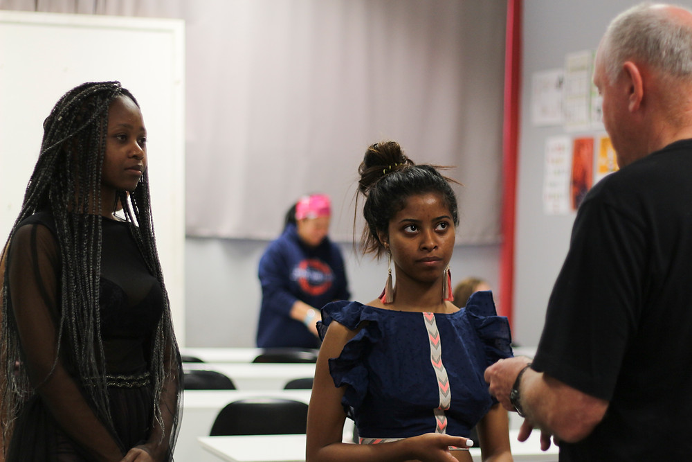 Ednecia Kleynhans and Nasiphi Zwakala at a Fashion Show rehearsal in Cape Town