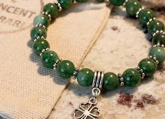 African Jade Shamrock Bracelet