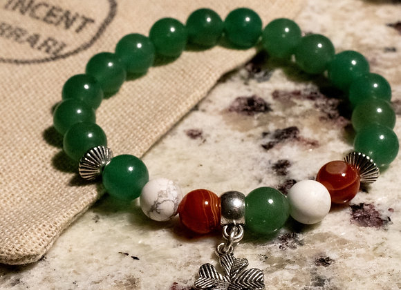 Irish Flag Adventurine Carnelian & Howlite Bracelet
