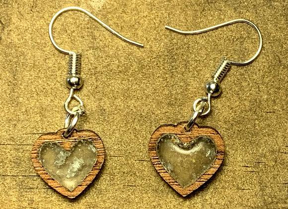Vhibuti-Infused Walnut Heart Earrings