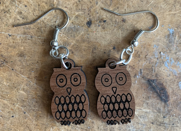 Owl Earrings - Walnut