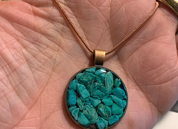 Magnesite Copper Pendant (With Necklace)