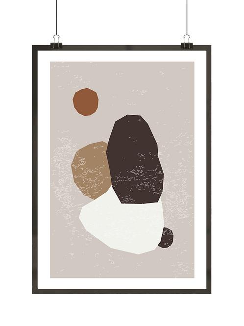 Różne kształty na plakacie abstrakcyjnym w kolorach beżu i brązu
