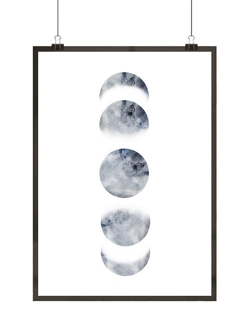 Plakat skandynawski o kosmicznej tematyce z fazami księżyca