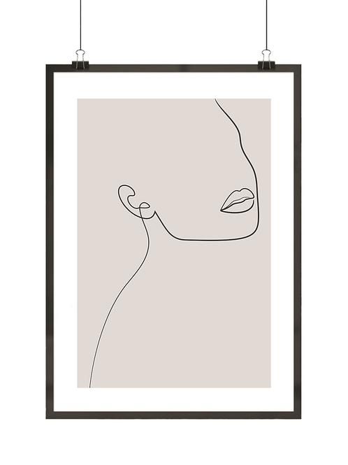 Minimalistyczny plakat z kobietą malowany kreską