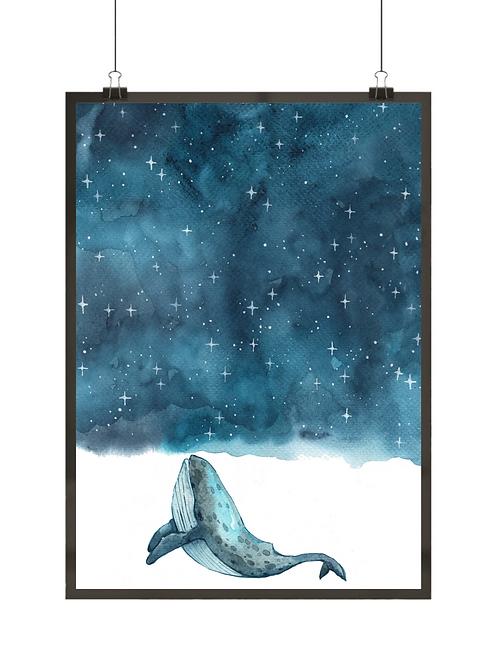 Skandynawski plakat z wielorybem płynącym do nieba