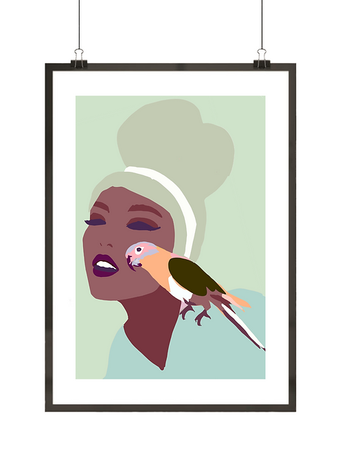 Kobieta z papużką