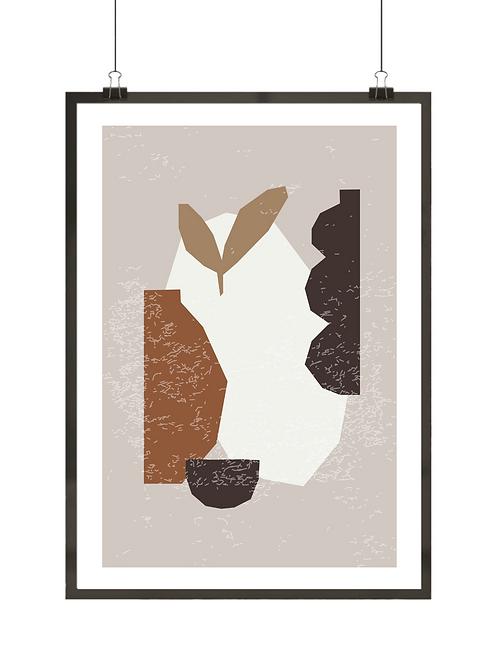 Plakat abstrakcyjny z wazą, listkami i nieregularnymi listkami