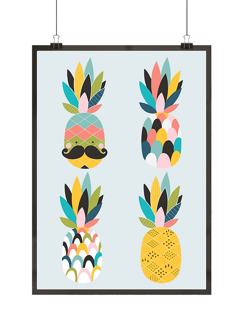 Kolorowy plakat do kuchni z zabawnymi ananasami