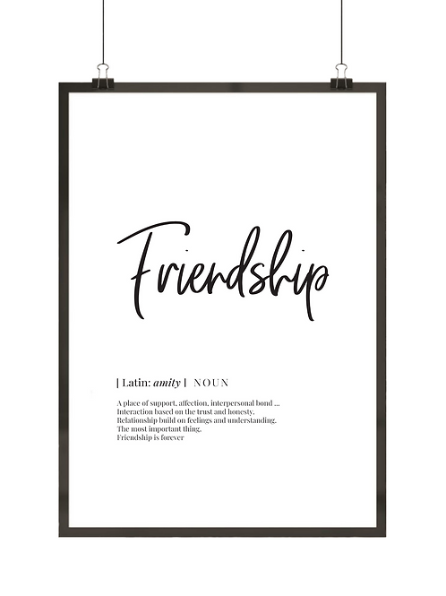 """Plakat z definicją słowa """"Friendship"""""""