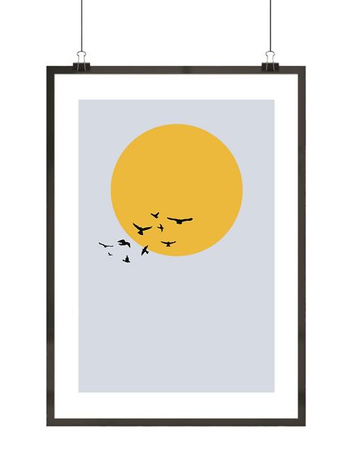 Ptaki na tle słońca