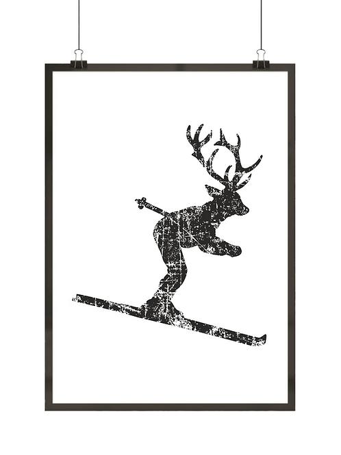 Łoś na nartach