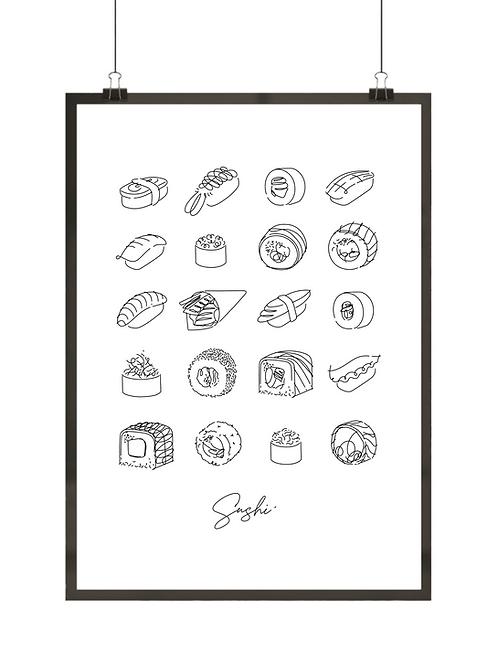 Czarno-biały plakat minimalistyczny przedstawiający rodzaje sushi