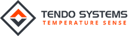 Tendo systems logo in black and orange with the words 'Tendo Systems Temperature Sense'
