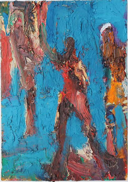 Three Figures in Blue (29x21cm), oil on