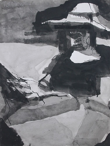Reading Figure with Hat 3 (20x15cm), ink