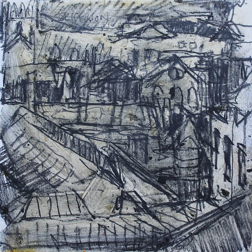 View from the National Gallery, Edinburgh (13.5x13.5cm)