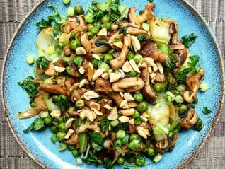 Shiitake Mushrooms with Greens